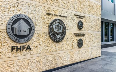 Federal Trade Commission and Housing Finance Agency seals in downtown with closeup of sign and logo