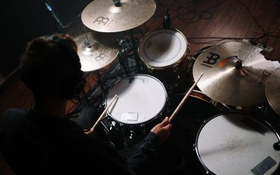 Overhead shot of playing drums