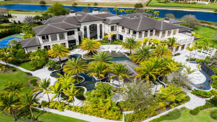 An aerial view of the Rockybrook Estate in Delray Beach, Florida