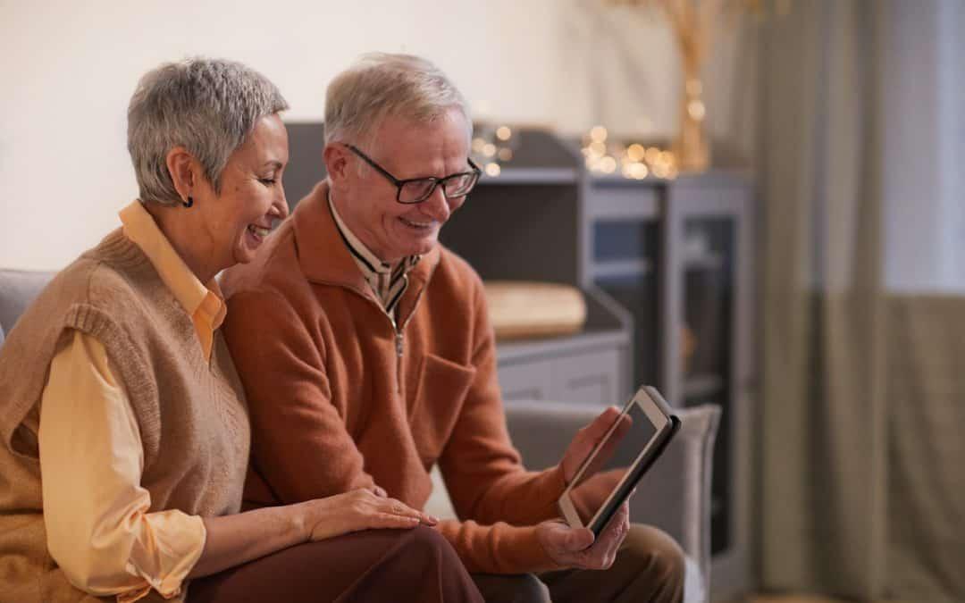 Happy Older Couple Ipad