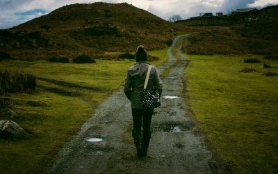 Person Walking down a Path Green