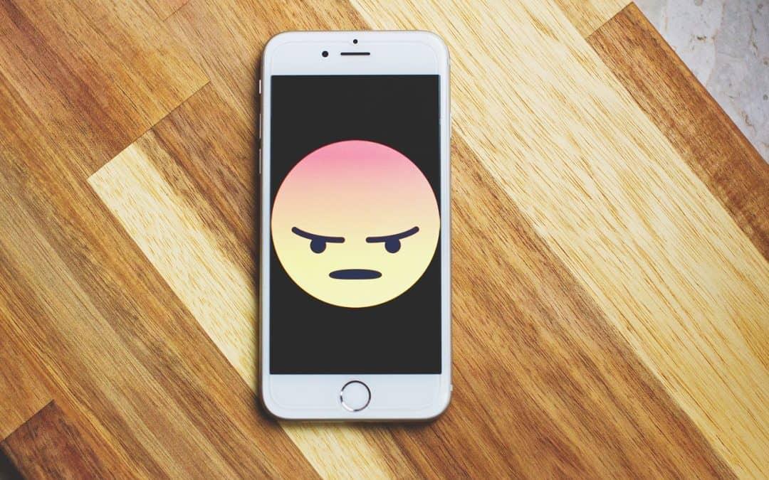 Mad Emoji on Cell Phone