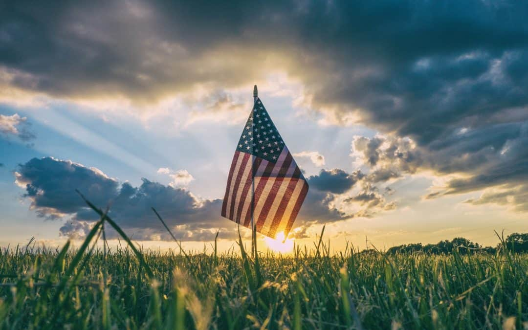 USA Flag in a Field Sunset