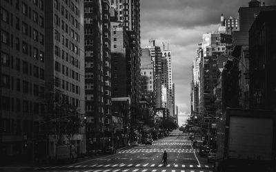 Empty City Street Person Walking
