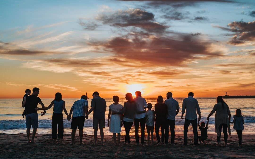 Family Happy Sunset Beach