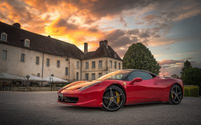Rich Mansion Fancy Car Sunset