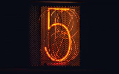 Five 5 Neon Sign