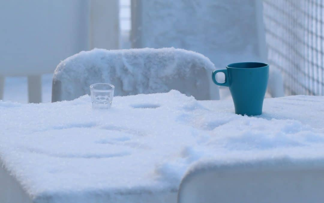 Outdoor Table Covered in Snow Coffe Mug Tea